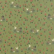 Moda Mon Ami by BasicGrey - 4296 - Bicyclette, Bicycles Cats and Tulips on Green - 30413 15 - Cotton Fabric